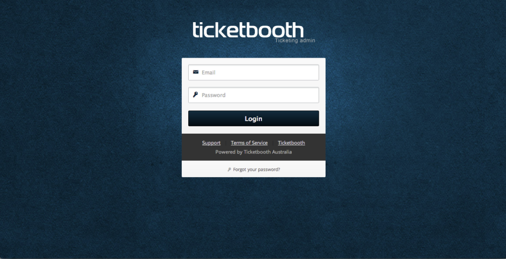 Ticketbooth admin login page